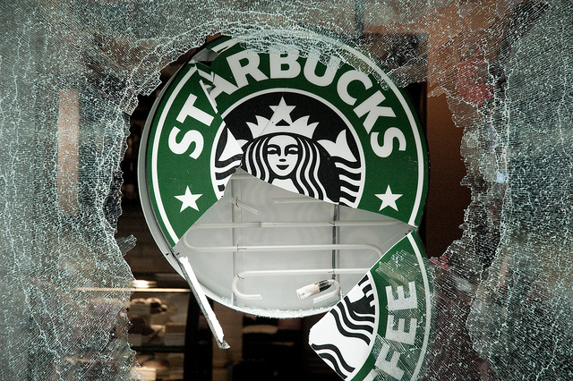 Starbucks Logo Smashed